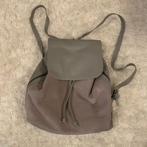 Grey suede and leather backpack
